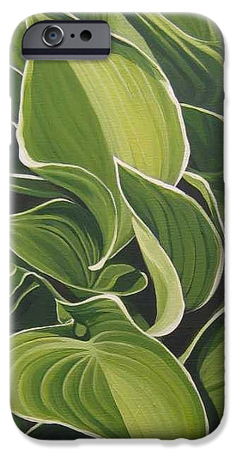 Closeup Of Hosta Plant IPhone 6 Case featuring the painting Shapes That Go Together by Hunter Jay