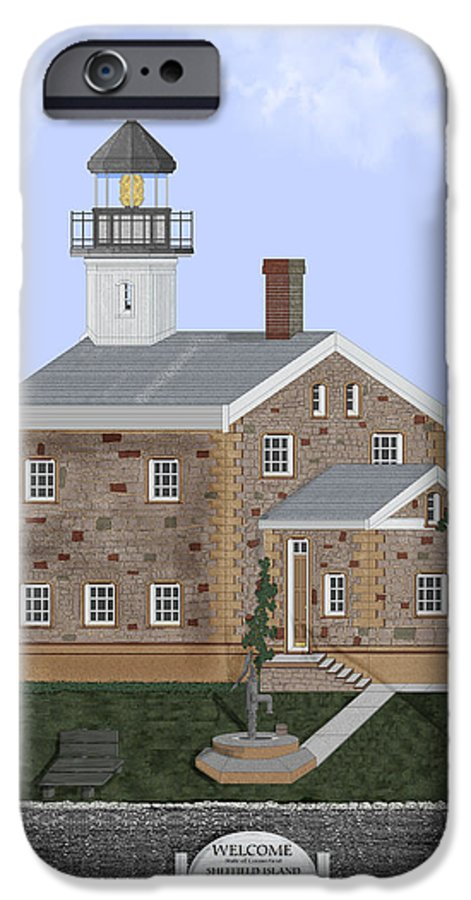 Lighthouse IPhone 6 Case featuring the painting Sheffield Island Lighthouse Connecticut by Anne Norskog