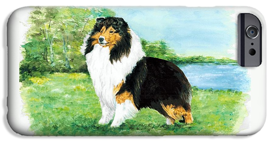 Shetland Sheepdog IPhone 6 Case featuring the painting Sheltie Wait by Kathleen Sepulveda