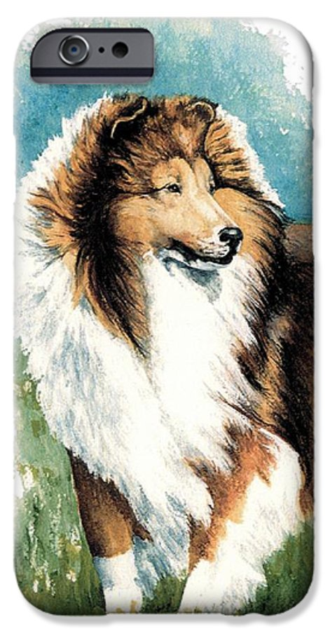 Shetland Sheepdog IPhone 6 Case featuring the painting Sheltie Watch by Kathleen Sepulveda