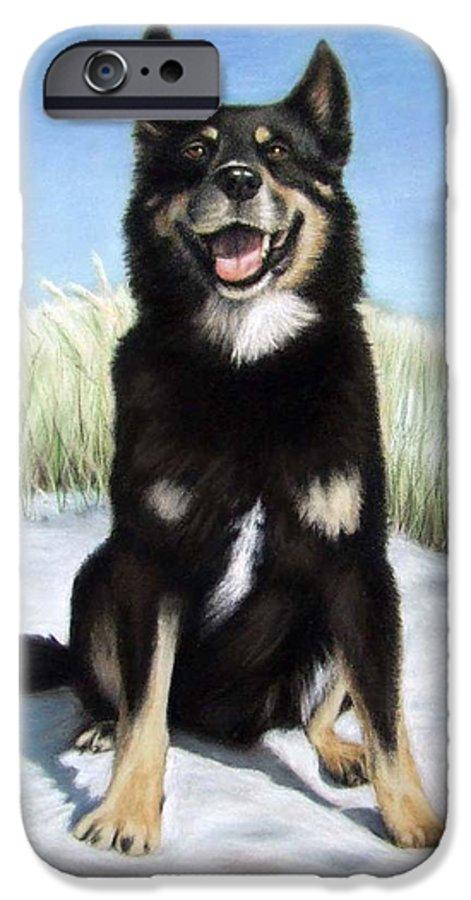 Dog IPhone 6 Case featuring the pastel Shepherd Mix Timmy by Nicole Zeug