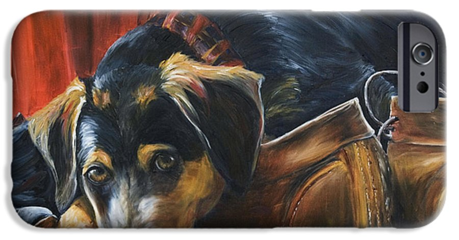 Dog IPhone 6 Case featuring the painting Shoe Dog by Nik Helbig
