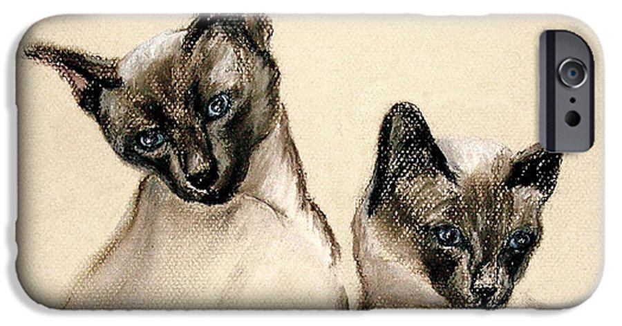 Cat IPhone 6 Case featuring the drawing Sibling Love by Cori Solomon