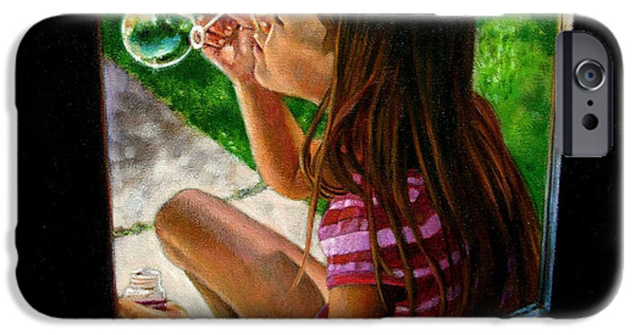 Girl IPhone 6 Case featuring the painting Sierra Blowing Bubbles by John Lautermilch