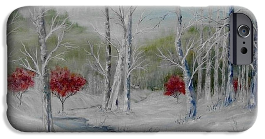 Snow; Winter; Birch Trees IPhone 6 Case featuring the painting Silence by Ben Kiger
