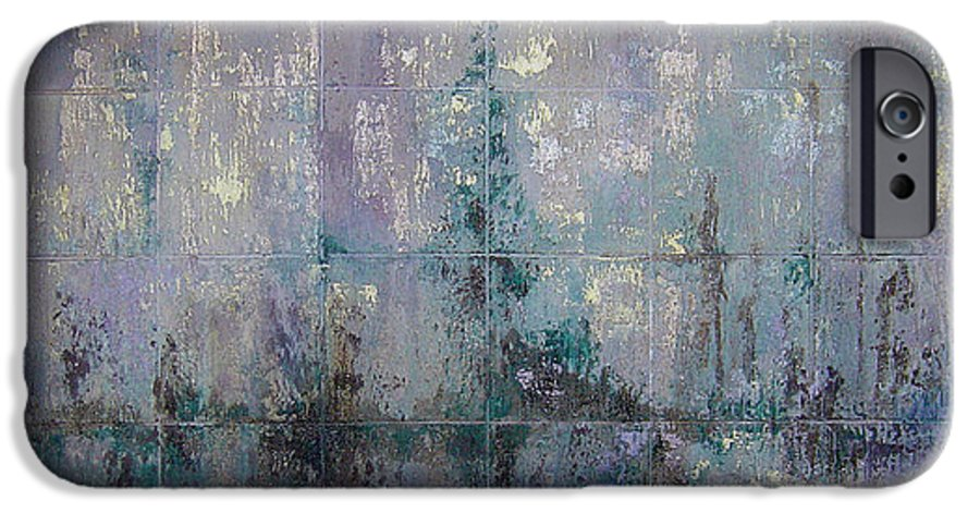 Abstract IPhone 6 Case featuring the painting Silver And Silent by Shadia Derbyshire