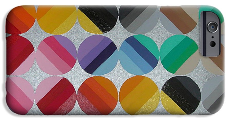 Circles Of Yellow IPhone 6 Case featuring the painting Silver Lining by Gay Dallek