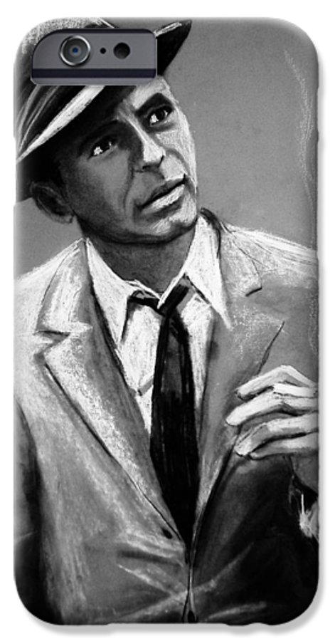 Frank Sinatra IPhone 6 Case featuring the drawing Sinatra by Laura Rispoli