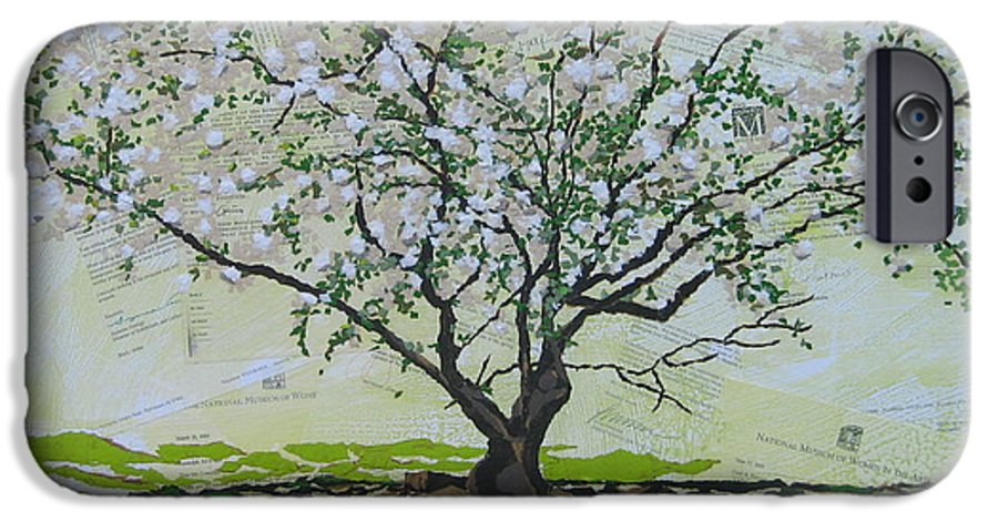 Apple Tree IPhone 6 Case featuring the painting Sincerely-the Curator by Leah Tomaino