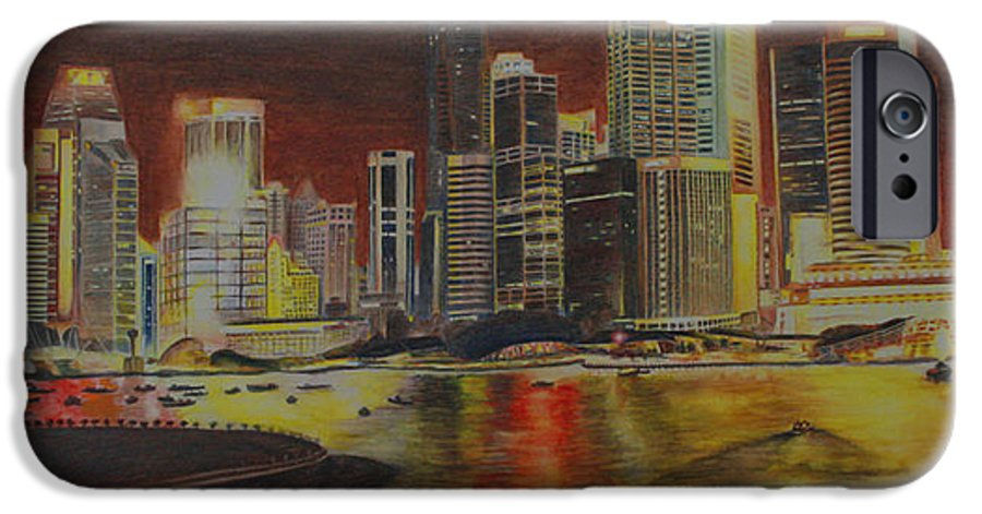 Cityscape IPhone 6 Case featuring the painting Singapore Nights by Nik Helbig