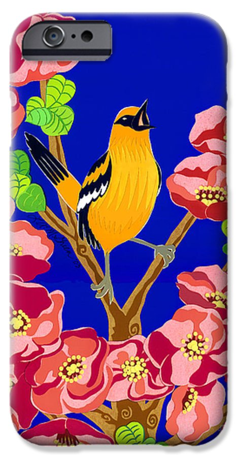 Nature IPhone 6 Case featuring the drawing Singing Oriole by Lucyna A M Green
