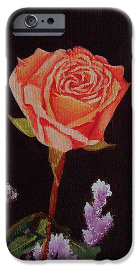 Rose IPhone 6 Case featuring the painting Single Rose by Quwatha Valentine