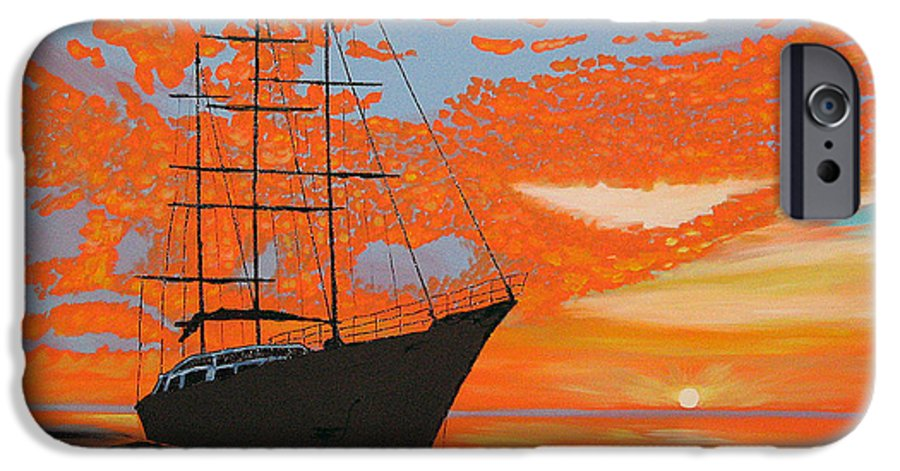 Seascape IPhone 6 Case featuring the painting Sittin' On The Bay by Marco Morales