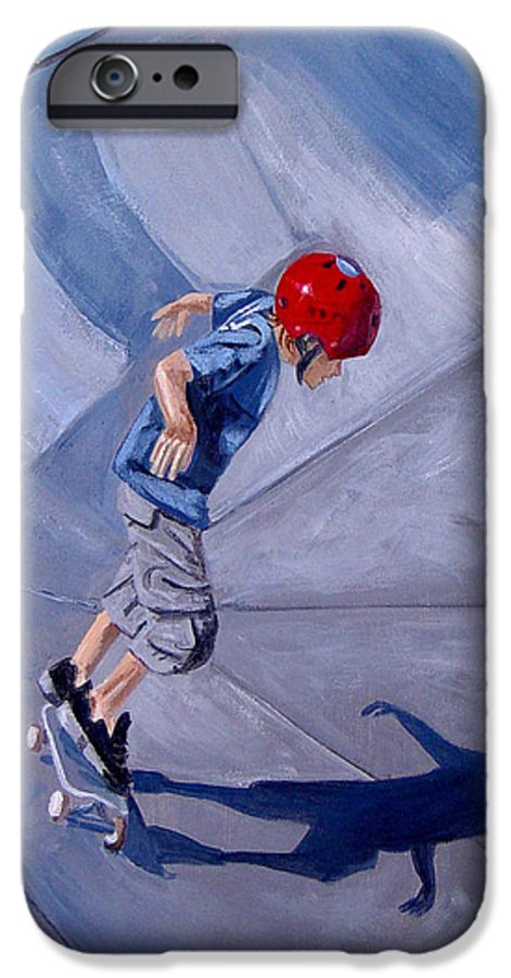 Boy IPhone 6 Case featuring the painting Skateboarding by Quwatha Valentine