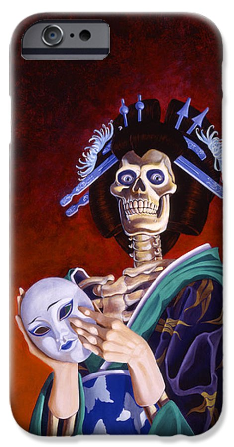 Skeleton IPhone 6 Case featuring the painting Skeletal Geisha With Mask by Melissa A Benson