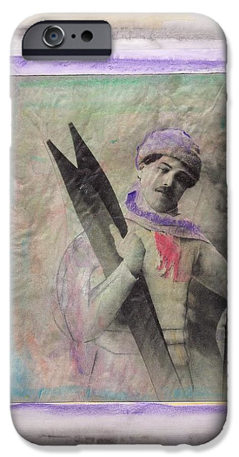 Ski IPhone 6 Case featuring the mixed media Skiboarder Around 1930 by Michael Puya
