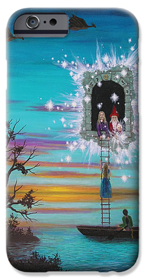 Fantasy IPhone 6 Case featuring the painting Sky Window by Roz Eve