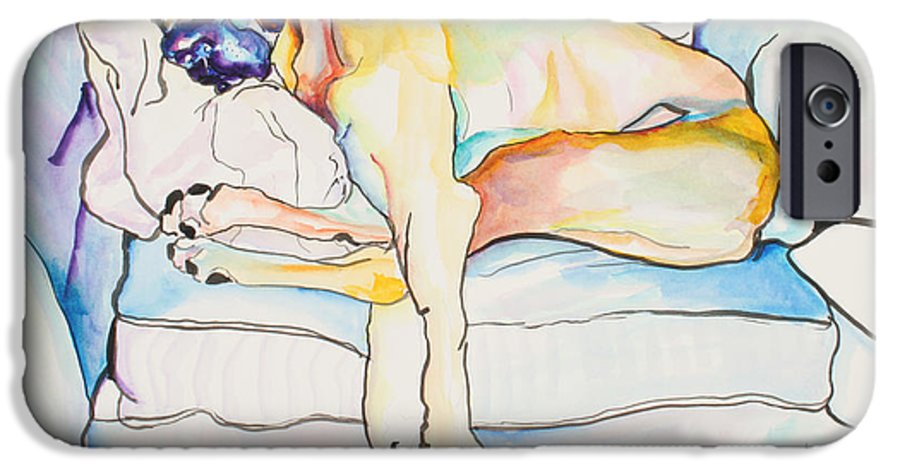 Great Dane IPhone 6 Case featuring the painting Sleeping Beauty by Pat Saunders-White