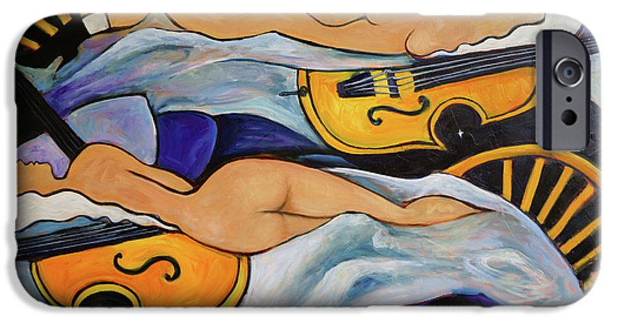 Musicians IPhone 6 Case featuring the painting Sleeping Cellists by Valerie Vescovi