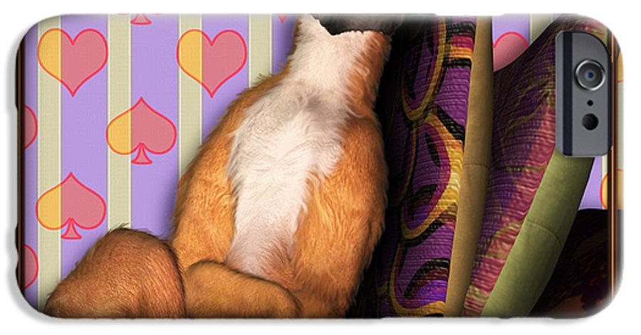 Dog IPhone 6 Case featuring the digital art Sleeping II by Nik Helbig