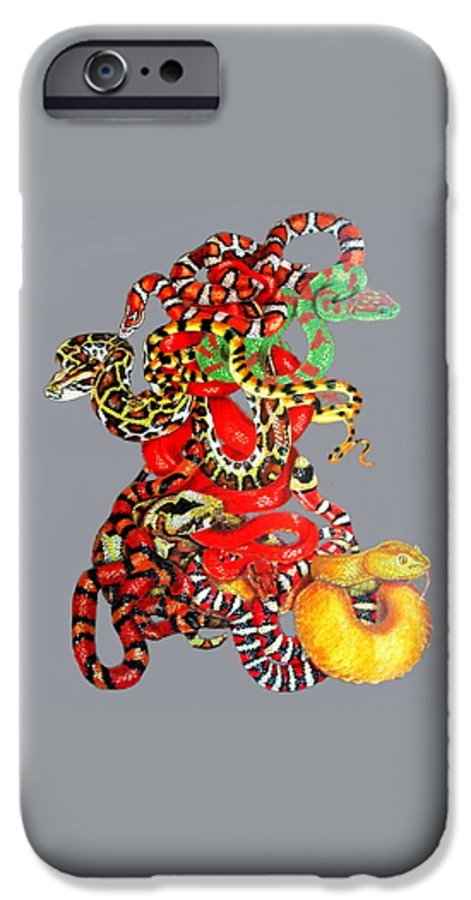 Reptile IPhone 6 Case featuring the drawing Slither by Barbara Keith