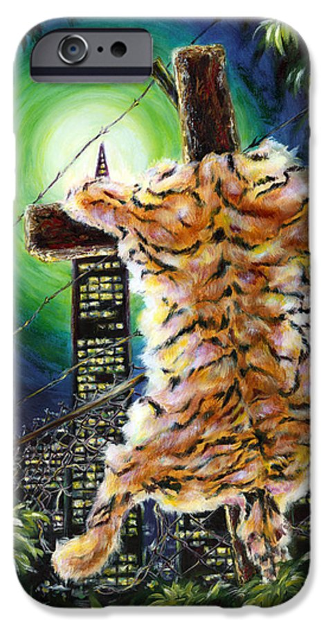 Tiger IPhone 6 Case featuring the painting Slough... What I Have Left Behind The Fence To Survive In This Strange City by Hiroko Sakai