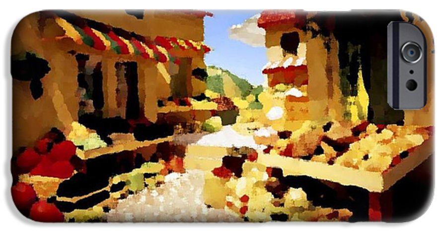 Market.town.street.road.houses.shadow.things For Sale.heat.rest.silence. IPhone 6 Case featuring the digital art small urban market on Capri island by Dr Loifer Vladimir