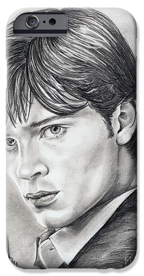 Superman IPhone 6 Case featuring the drawing Smallville Tom Welling by Murphy Elliott