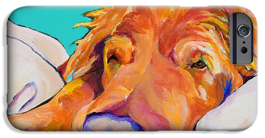 Dog Poortraits IPhone 6 Case featuring the painting Snoozer King by Pat Saunders-White