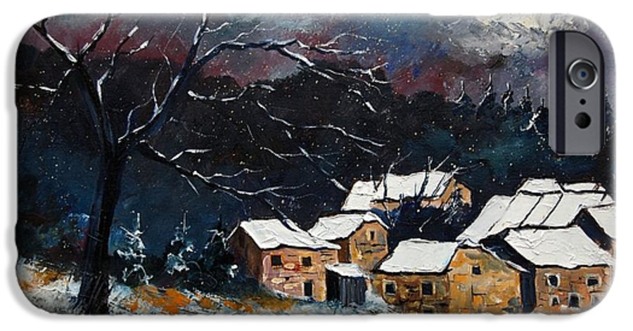 Snow IPhone 6 Case featuring the painting Snow 57 by Pol Ledent