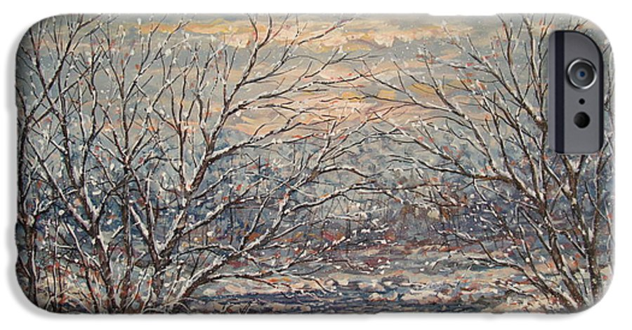 Landscape IPhone 6 Case featuring the painting Snow By Brook. by Leonard Holland