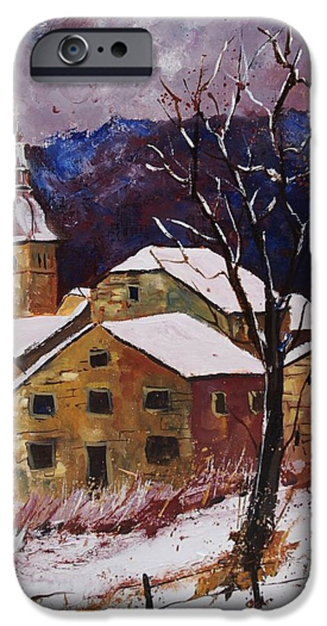 Landscape IPhone 6 Case featuring the painting Snow In Chassepierre by Pol Ledent
