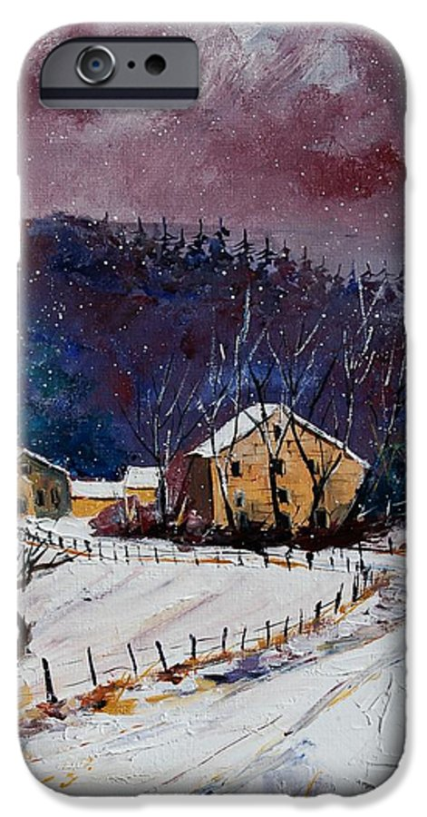 Landscape IPhone 6 Case featuring the painting Snow In Sechery by Pol Ledent