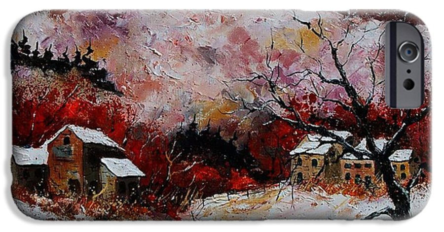 Snow IPhone 6 Case featuring the painting Snow In The Ardennes 78 by Pol Ledent