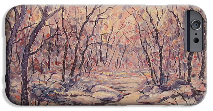 Landscape IPhone 6 Case featuring the painting Snow In The Woods. by Leonard Holland