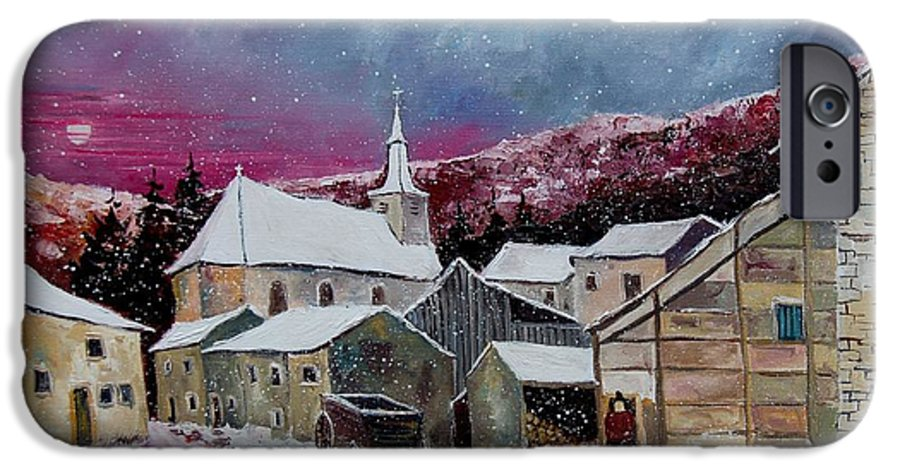 Snow IPhone 6 Case featuring the painting Snow Is Falling by Pol Ledent