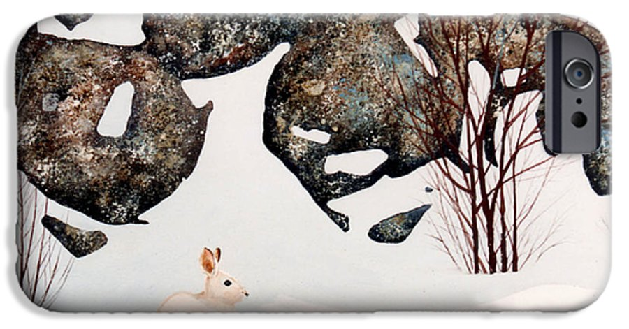Wildlife IPhone 6 Case featuring the painting Snow Ledges Rabbit by Frank Wilson