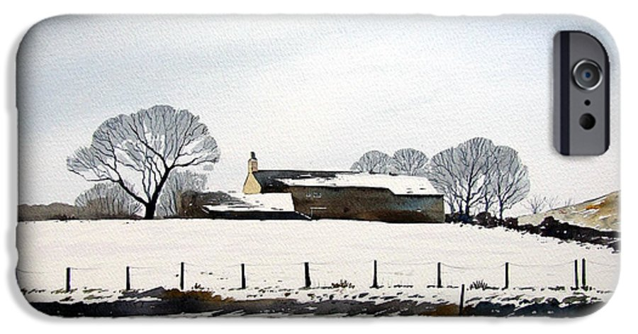 Winter Scene IPhone 6 Case featuring the painting Snow Scene Barkisland by Paul Dene Marlor