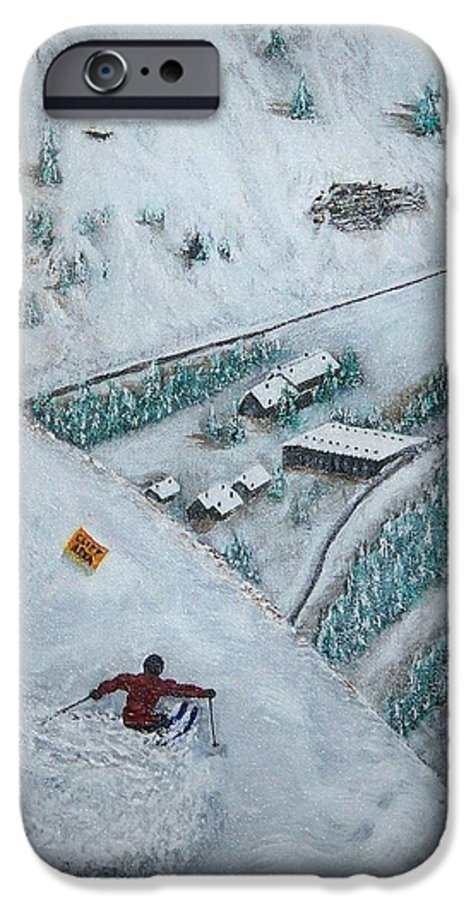 Ski IPhone 6 Case featuring the painting Snowbird Steeps by Michael Cuozzo