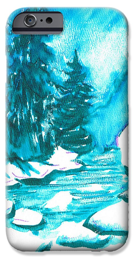 Chilling IPhone 6 Case featuring the mixed media Snowy Creek Banks by Seth Weaver