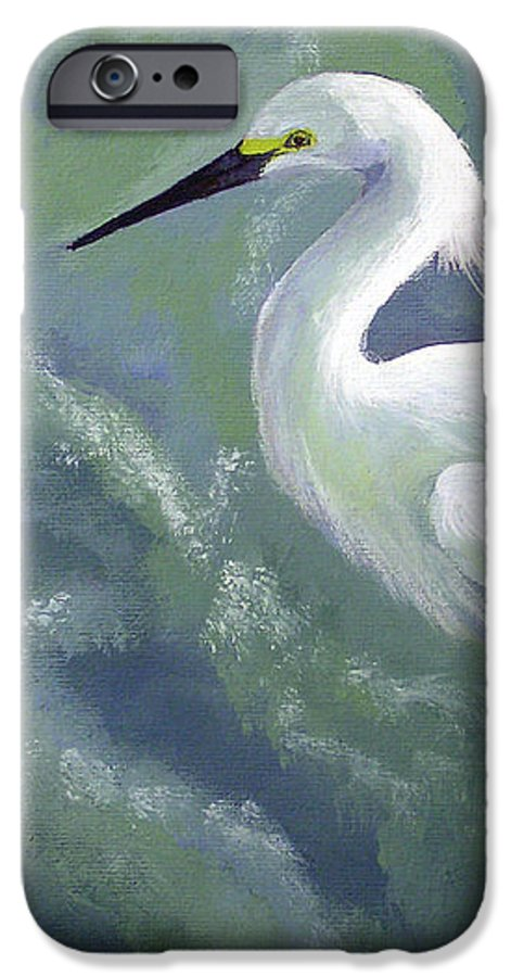 Egret IPhone 6 Case featuring the painting Snowy Egret In Water by Adam Johnson