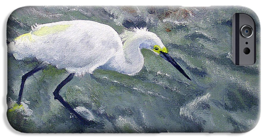 Egret IPhone 6 Case featuring the painting Snowy Egret Near Jetty Rock by Adam Johnson