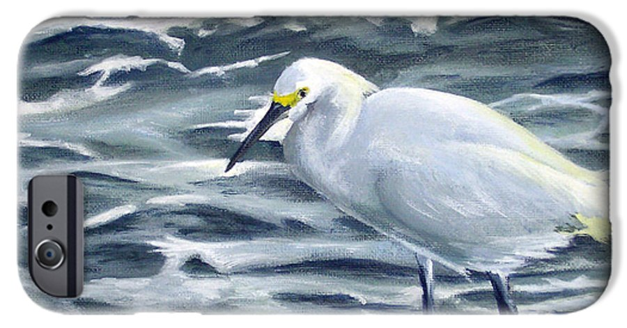 Egret IPhone 6 Case featuring the painting Snowy Egret On Jetty Rock by Adam Johnson