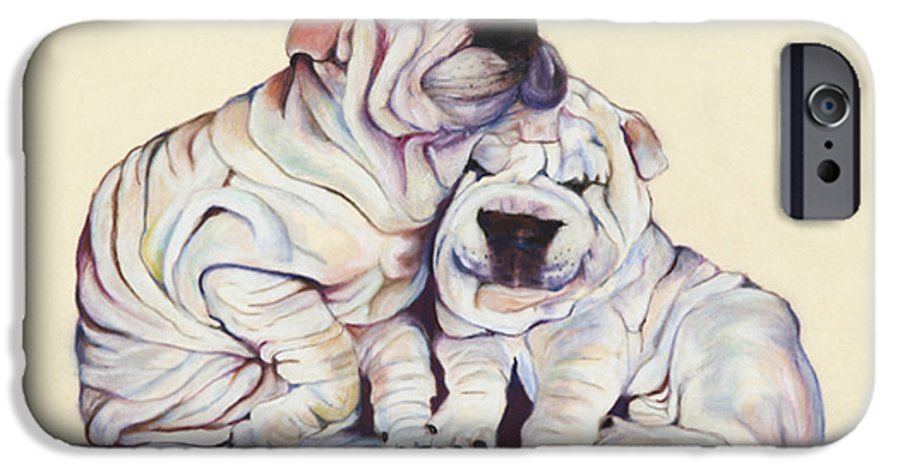 Dog Painting IPhone 6 Case featuring the pastel Snuggles by Pat Saunders-White