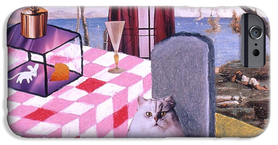 Cat IPhone 6 Case featuring the drawing Soap Scene #14 Mouse In A Cage by Minaz Jantz