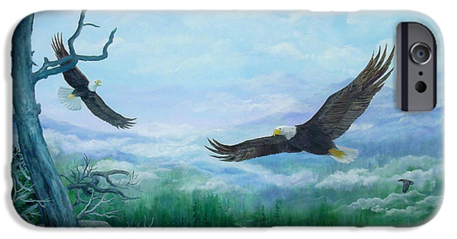 Eagles;birds;river Valley;mountains;sky; IPhone 6 Case featuring the painting Soaring by Lois Mountz