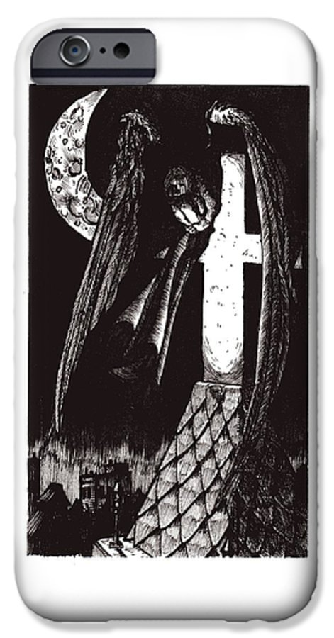 Angel IPhone 6 Case featuring the drawing Solemn Vigil by Tobey Anderson