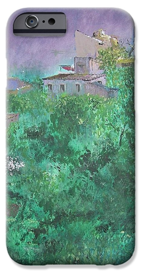 Impressionist IPhone 6 Case featuring the painting Solitary Almond Tree In Blossom Mallorcan Valley by Lizzy Forrester