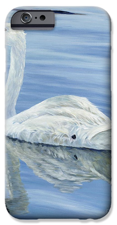 Swan IPhone 6 Case featuring the painting Solitary Swan by Danielle Perry