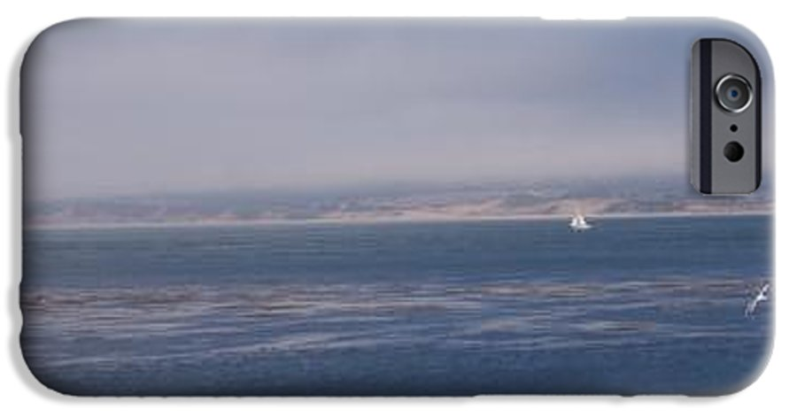 Sailing Outdoors Sail Ocean Monterey Bay Sea Seascape Boat Shoreline Sky Pacific Nature California IPhone 6 Case featuring the photograph Solo Sail In Monterey Bay by Pharris Art